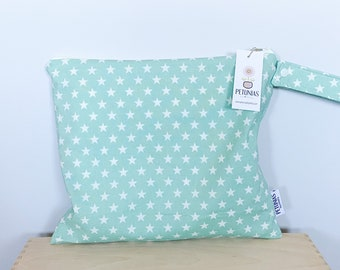 The ICKY Bag - wetbag - PETUNIAS by Kelly - mint star