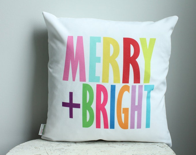 Sale pillow cover Christmas Merry Bright 18x18 modern hipster accessory home decor nursery baby gift present zipper canvas ready to ship