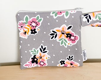 The ICKY Bag petite - wetbag - PETUNIAS by Kelly - grey floral