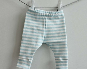 Baby leggings blue stripe 0-3 months Organic PETUNIAS modern newborn baby shower gift photo prop hospital outfit accessory