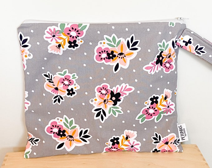 The ICKY Bag - wetbag - PETUNIAS by Kelly - grey floral
