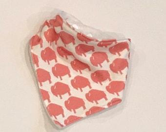 baby bib toddler bandana bandanna bib teething bib drool bib baby shower gift coral buffalo bison adjustable snap absorbent child bib