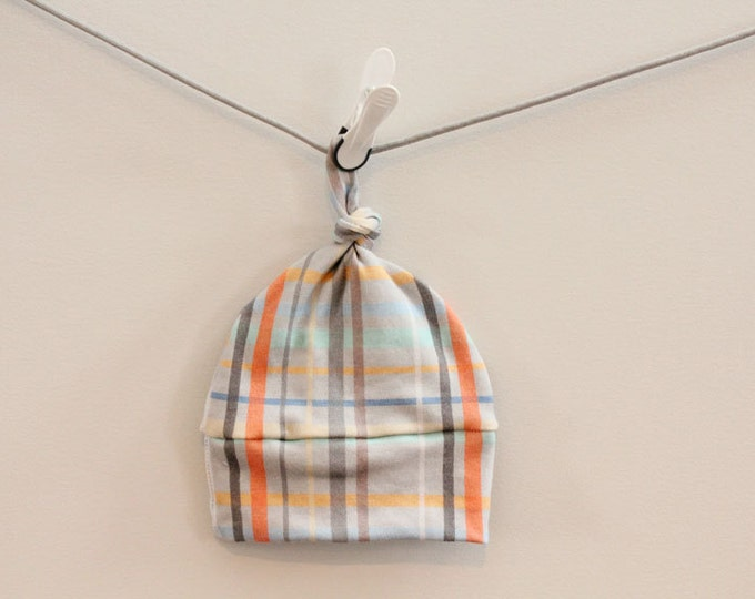 Sale Baby Hat plaid Organic knot PETUNIAS hipster modern newborn baby shower gift photography prop hospital outfit accessory neutral girl bo