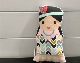 Doll Native American Girl Indian Modern Hipster Room Decor stuffed plush baby gift toddler toy birthday present by PETUNIAS