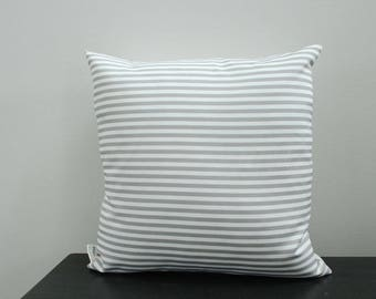 Pillow cover grey white stripe 18 inch 18x18 modern hipster accessory home decor nursery baby gift present zipper canvas ready to ship