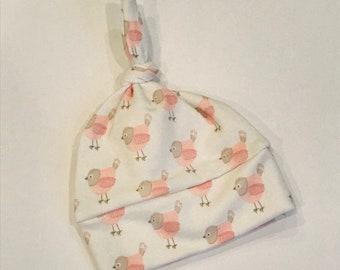 baby hat pink bird Organic knot modern newborn shower gift photography prop hospital outfit accessory neutral girl boy