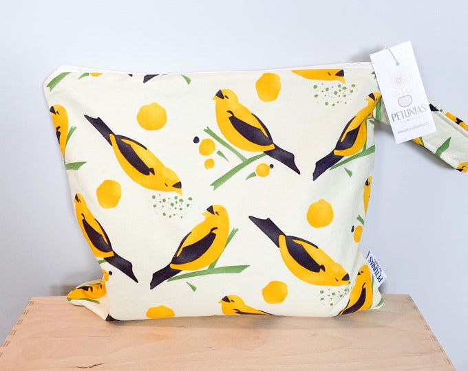 The ICKY Bag - wetbag - PETUNIAS by Kelly - yellow bird