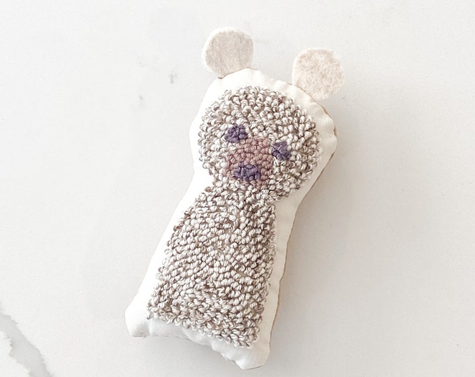 Tiny punch needle bear doll - PETUNIAS by Kelly - stuffed toy