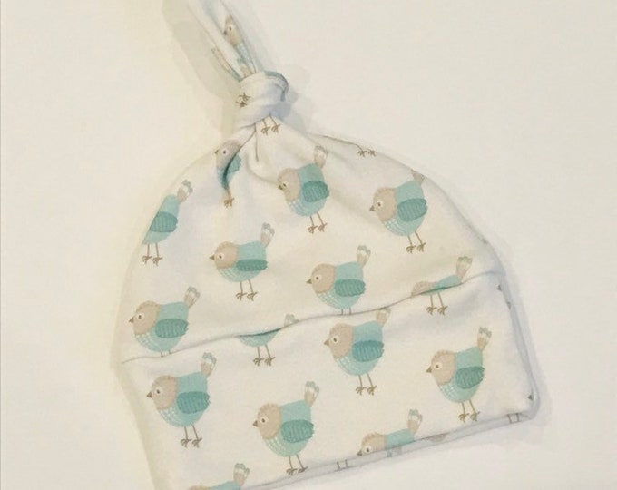 baby hat teal bird Organic knot modern newborn shower gift photography prop hospital outfit accessory neutral girl boy