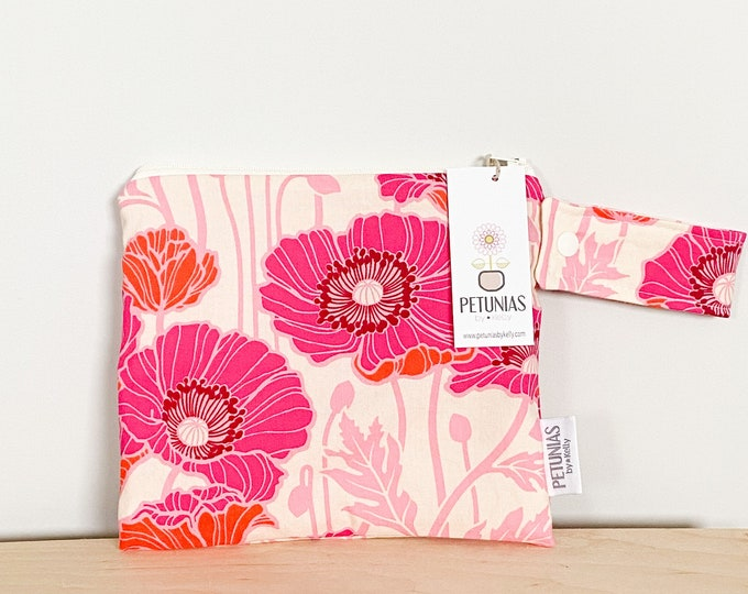 The ICKY Bag petite - wetbag - PETUNIAS by Kelly - bright pink poppies