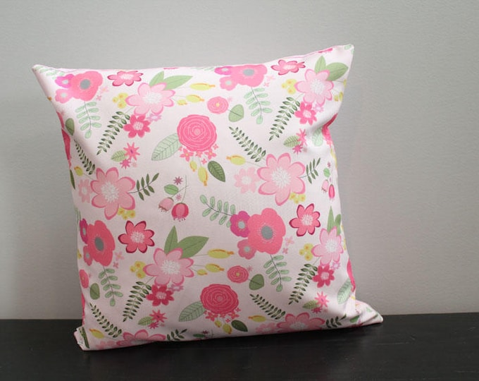 SALE Pillow cover berry flower floral 18 inch 18x18 modern hipster accessory home decor nursery baby gift present zipper canvas