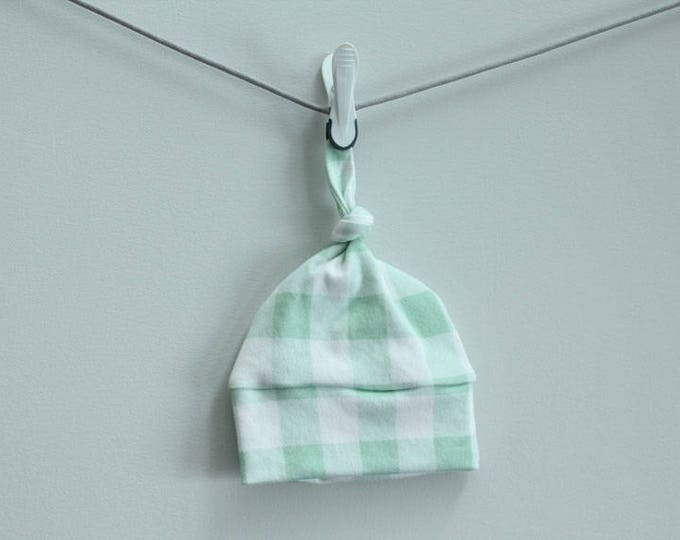 Baby Hat mint buffalo plaid check Organic knot PETUNIAS modern newborn baby shower gift photo prop hospital outfit accessory