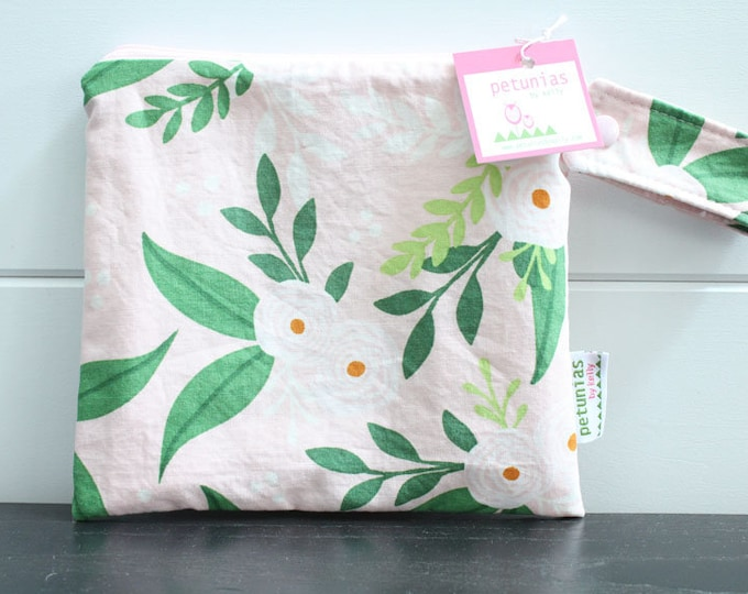 wetbag wet bag The ICKY Bag petite pink green flower modern baby gift waterproof gym sports cloth diaper pouch zipper handle baby gift