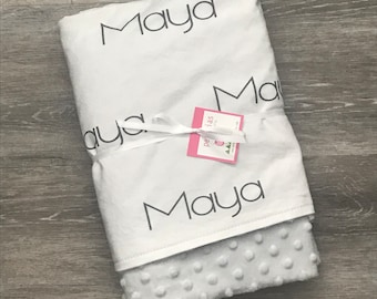 Personalized baby blanket minky – PETUNIAS name minky luxurious photo prop baby gift birth announcement nursery décor present newborn