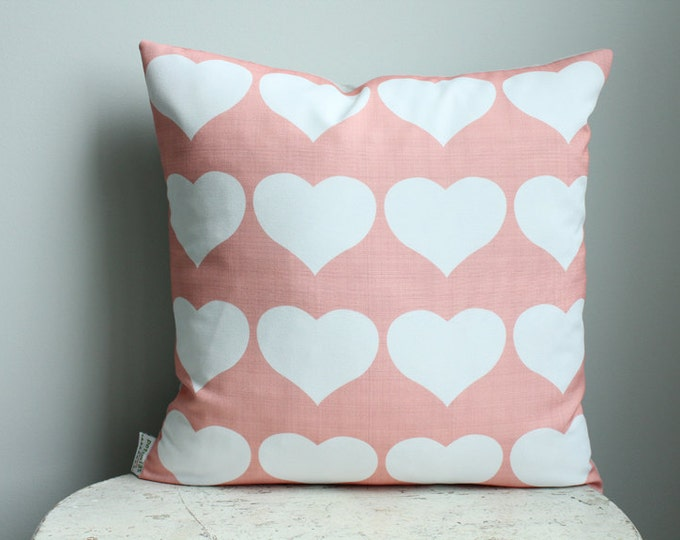 SALE Pillow cover coral heart 18 inch 18x18 modern hipster accessory home decor nursery baby gift present zipper closure canvas