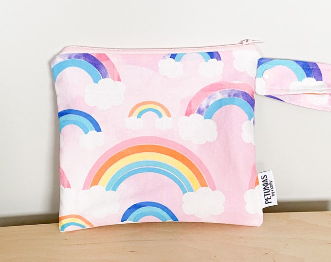 The ICKY Bag petite - wetbag - PETUNIAS by Kelly - rainbow clouds