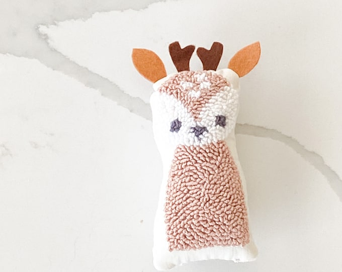 Tiny punch needle fawn doll - PETUNIAS by Kelly - stuffed toy