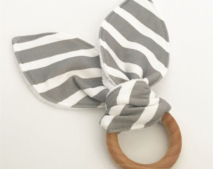 teething ring grey stripe bunny ears wooden ring teether natural baby shower gift teething toy you pick color unique