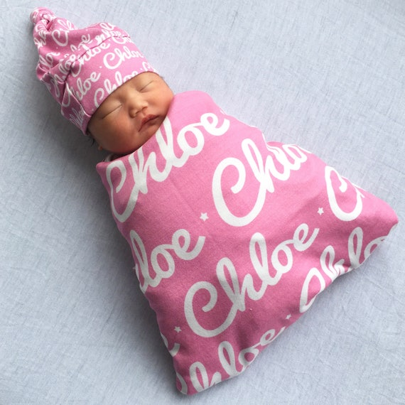 ac7d0800816 Personalized baby blanket and hat set organic knit swaddle