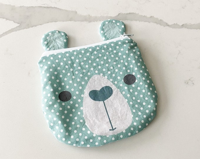 The ICKY Bag mini wetbag - animal zipper pouch - snack bag - PETUNIAS by Kelly - teal bear