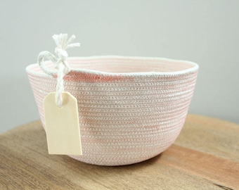 Basket rope coil coral thread natural bin storage organizer bowl wooden tag by PETUNIAS