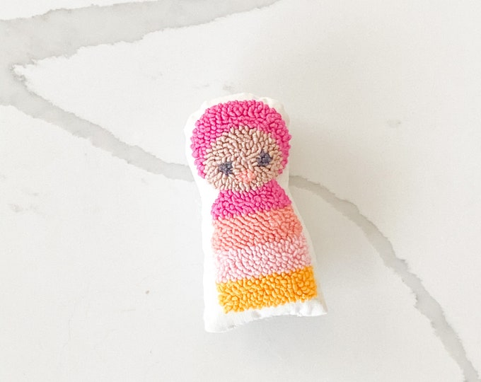 Tiny punch needle baby doll - PETUNIAS by Kelly - stuffed toy