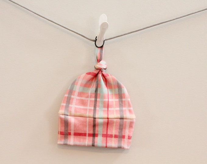 SALE Baby Hat plaid Organic knot PETUNIAS hipster modern newborn baby shower gift photography prop hospital outfit accessory neutral girl