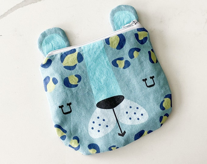 The ICKY Bag - mini wetbag zipper pouch - PETUNIAS by Kelly - blue leopard