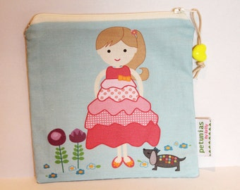 SALE Zipper Pouch bag by PETUNIAS cute girl boy present gift bag present birthday