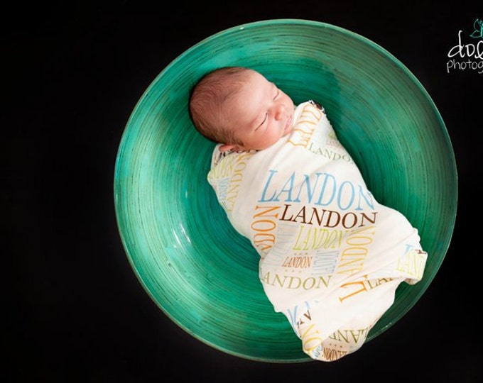 PERSONALIZED Baby Blanket Organic Interlock Knit knot hat name hipster swaddle newborn photo prop gift nursing birth announcement monogram