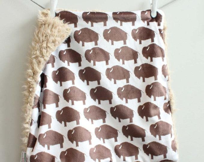 Lovey Blanket brown tan buffalo bison faux fur minky READY TO SHIP baby gift cloud blanket llama newborn gift plush photo prop toddler child