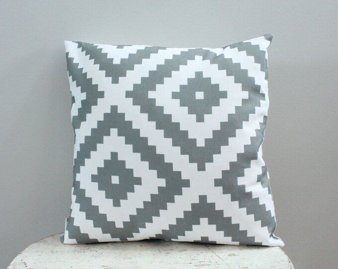 Pillow cover grey aztec 18 inch 18x18 modern hipster accessory home decor nursery baby gift present zipper closure canvas ready to ship