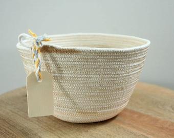 Basket rope coil yellow gold  stripe thread natural bin storage organizer bowl wooden tag by PETUNIAS