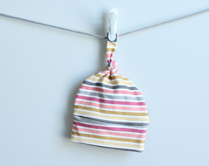 Stripe baby hat coral gray gold Organic knot hipster modern newborn shower gift photography prop hospital outfit accessory neutral girl boy