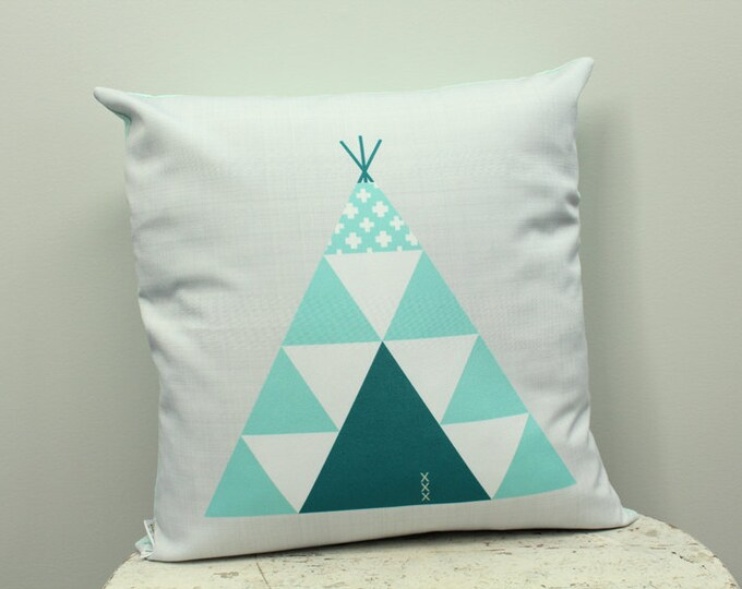 SALE Pillow cover teal teepee 18 inch 18x18 modern accessory home decor nursery baby gift present zipper closure canvas ready to ship