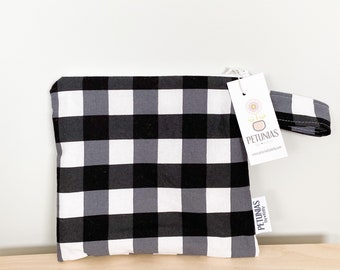 The ICKY Bag petite - wetbag - PETUNIAS by Kelly - black and white Buffalo check