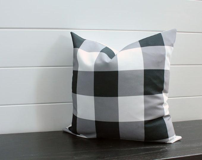 SALE Pillow cover black white buffalo check 18 inch 18x18 modern accessory home decor nursery baby gift zipper closure canvas