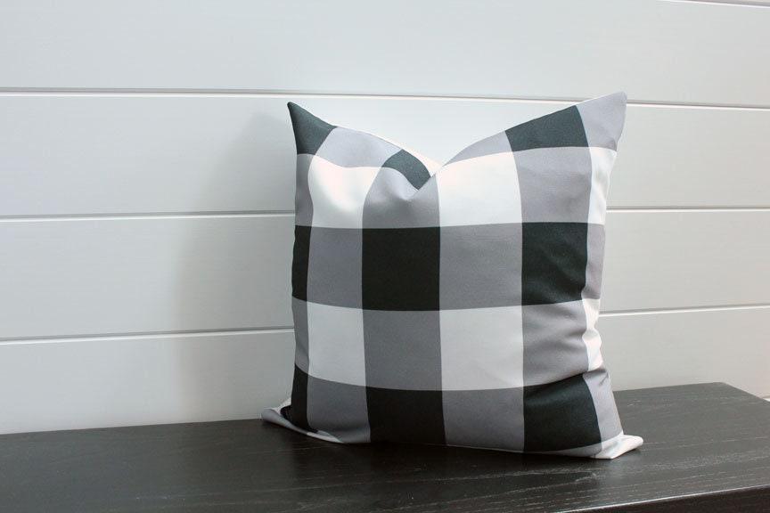 Pillow Cover Black White Buffalo Check 18 Inch 18x18 Modern