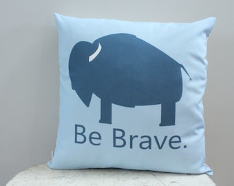 Pillow cover blue bison be brave 18 inch modern hipster accessory home decor nursery baby gift present zipper closure canvas ready to ship