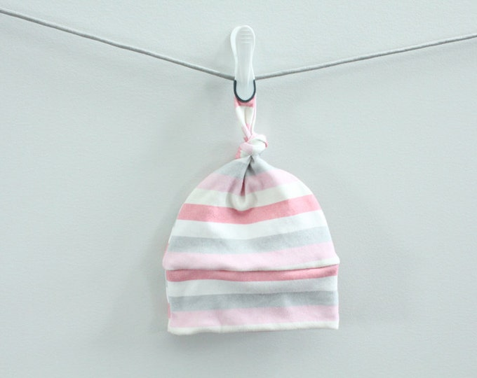 Baby Hat stripe Organic knot PETUNIAS hipster modern newborn baby shower gift photography prop hospital outfit accessory neutral girl boy