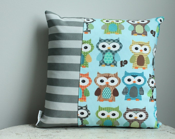 Sale Pillow cover grey blue owl 14 inch 14x14 modern accessory home decor nursery baby gift present zipper closure canvas ready to ship
