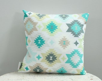 SALE Pillow mint aztec 14 inch 14x14 modern hipster accessory couch home decor nursery baby gift present zipper closure canvas ready to ship