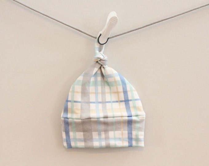 SALE Baby Hat plaid Organic knot PETUNIAS hipster modern newborn baby shower gift photography prop hospital outfit accessory neutral  boy