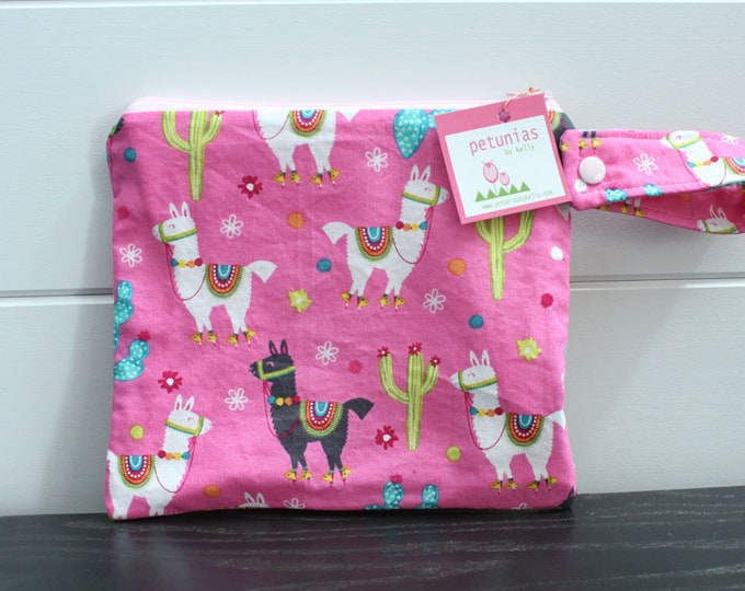 wetbag wet bag The ICKY Bag petite modern pink alpaca baby gift waterproof gym sports cloth diaper pouch zipper snap handle baby gift gear
