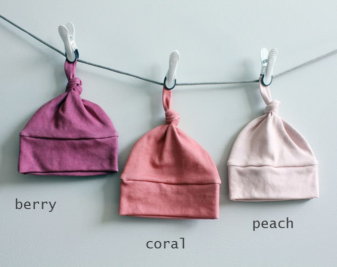 Baby Hat Solid color berry coral peach Organic knot PETUNIAS modern newborn baby shower gift photo prop hospital outfit accessory