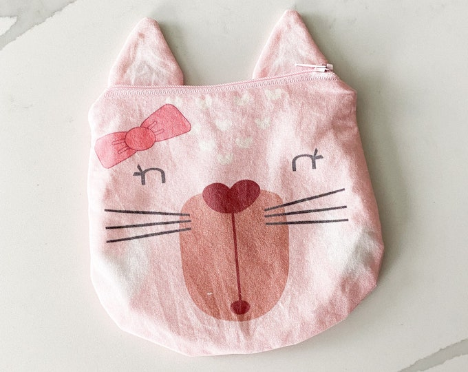 The ICKY Bag mini wetbag - animal zipper pouch - snack bag- PETUNIAS by Kelly - pink cat