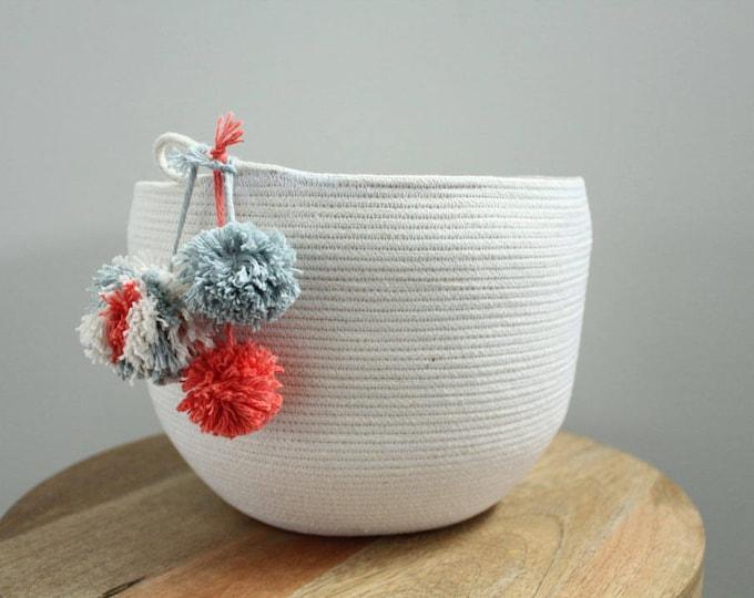 Basket rope coil bin storage organizer bowl pompoms natural grey coral by PETUNIAS