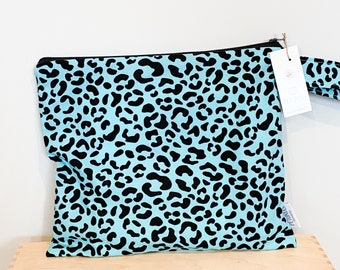The ICKY Bag - wetbag - PETUNIAS by Kelly - teal leopard