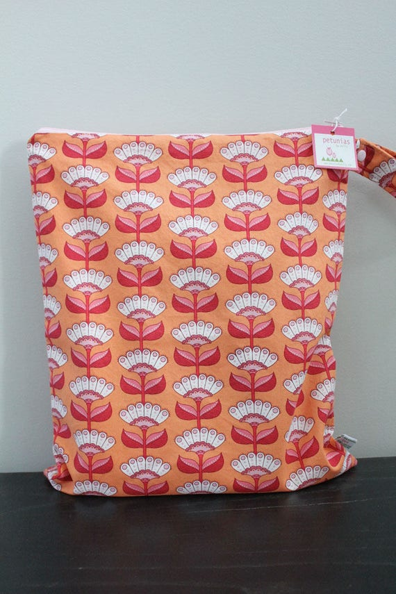 3ac78388a3 wetbag Wet bag ICKY Bag XL orange flower PETUNIAS diaper bag