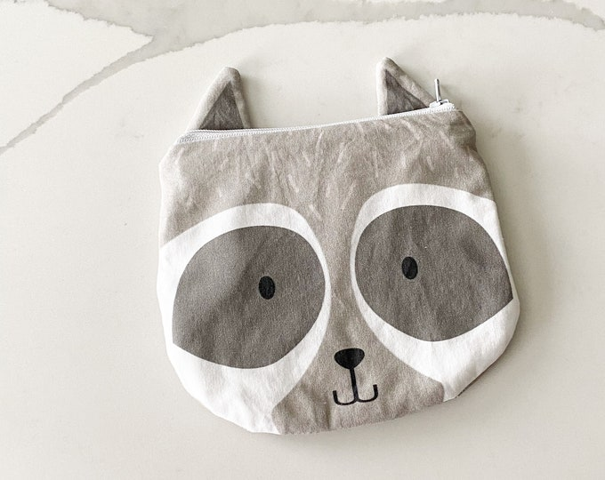 The ICKY Bag mini wetbag - animal zipper pouch - snack bag- PETUNIAS by Kelly - grey raccoon